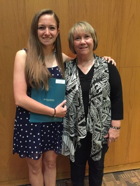 2016 Scholarship recipient Brenna Hogue stands with DFTU board member RoseAnn Viozzi.