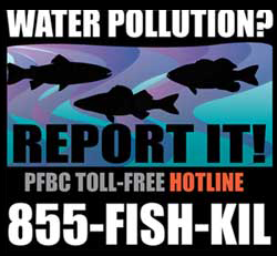 Water Pollution? Report It! PA Fish and Boat toll free hotline. 855-FISH-KIL.