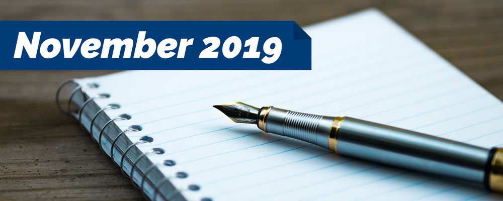 November 2019 – Notes from the President